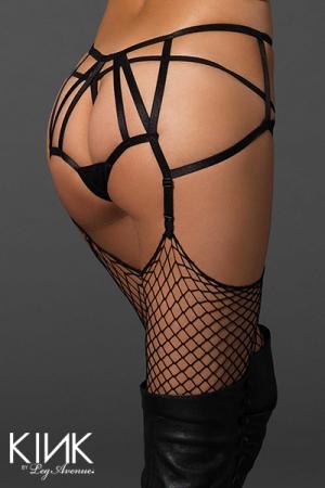 Culotte à jarretelles ouverte Cages Strap : Culotte porte-jarretelles ouverte, avec juste un gousset voile à l'entre-jambes.
